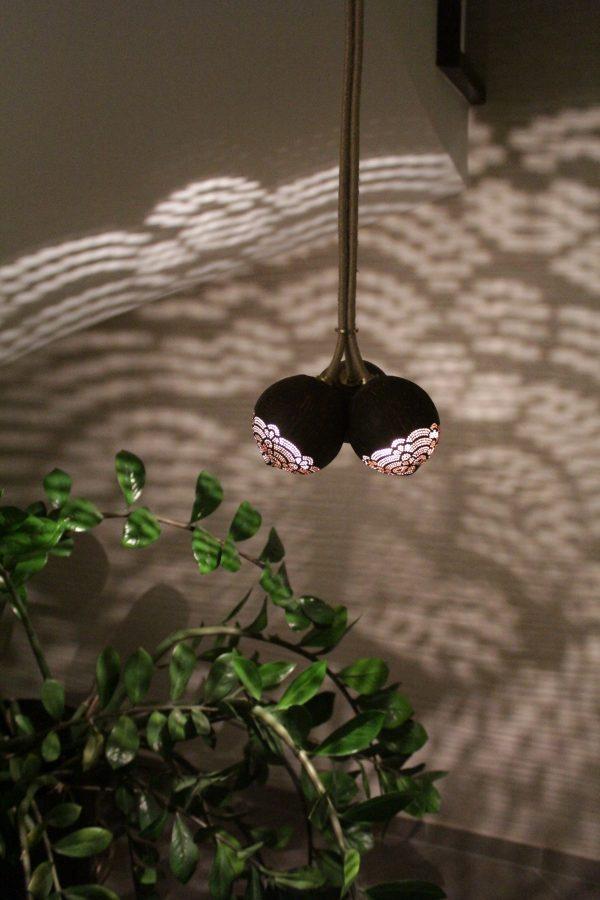 Pendant Trio handmade coconut lamp