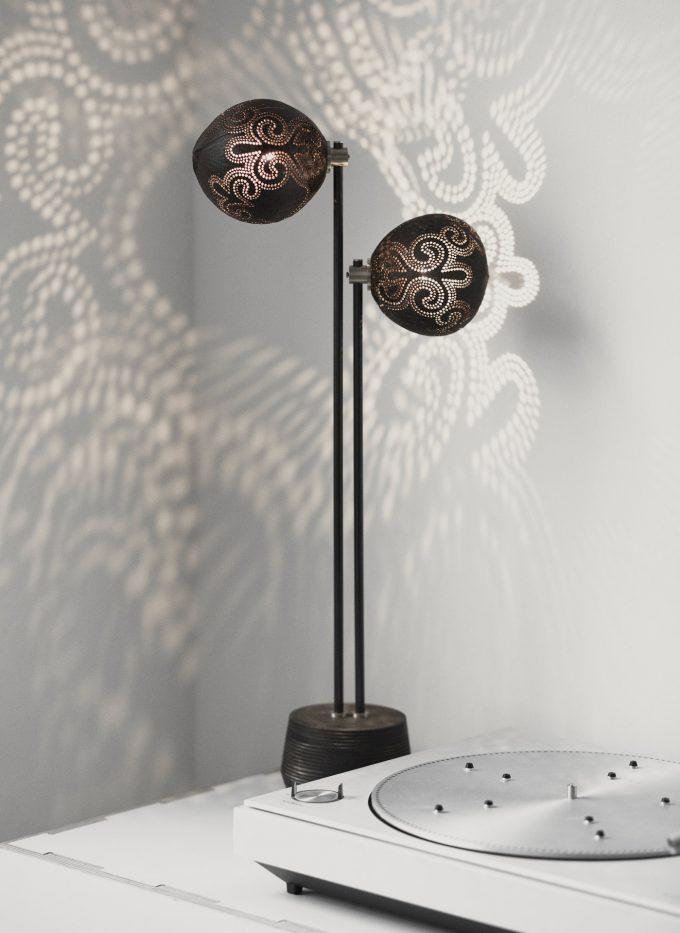 Table Couple handmade coconut lamp